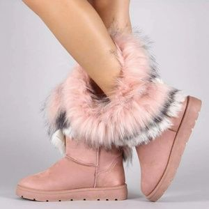 Shoes - NEW Pink Mid Calf Furry Winter Boots